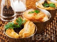Рецепта Сръбска бутер баница с бутер тесто, кайма и гъби печурки
